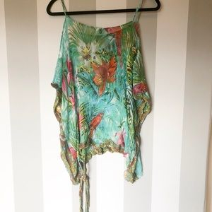 Watcher Tropical Cold Shoulder See Through Top